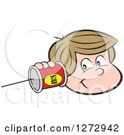 Clipart Of A Happy White Boy Holding A Can Pone To His Ear Royalty Free Vector Illustration