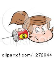 Clipart Of A Happy White Girl Holding A Can Pone To Her Ear Royalty Free Vector Illustration