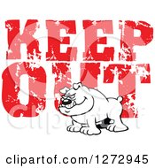 Clipart Of A Black And White Bulldog Over Distressed Red Keep Out Text Royalty Free Vector Illustration by Johnny Sajem