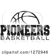 Clipart Of A Black And White Ball With PIONEERS BASKETBALL Text Royalty Free Vector Illustration