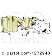 Dog Looking Under A Fence To Another Yard With A Bulldog Waiting