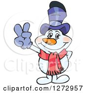Clipart Of A Happy Mrs Snowman Gesturing Peace Royalty Free Vector Illustration