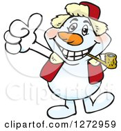 Clipart Of A Happy Snowman Smoking A Pipe And Giving A Thumb Up Royalty Free Vector Illustration