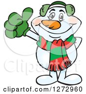 Clipart Of A Happy Snowman In A Scarf And Ear Muffs Giving A Thumb Up Royalty Free Vector Illustration