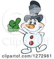 Clipart Of A Happy Snowman Wearing A Top Hat And Giving A Thumb Up Royalty Free Vector Illustration