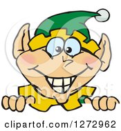 Clipart Of A Happy Male Christmas Elf Peeking Over A Sign Royalty Free Vector Illustration by Dennis Holmes Designs