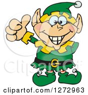 Clipart Of A Happy Male Christmas Elf Giving A Thumb Up Royalty Free Vector Illustration