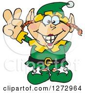 Clipart Of A Happy Female Christmas Elf Gesturing Peace Royalty Free Vector Illustration