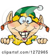 Clipart Of A Happy Female Christmas Elf Peeking Over A Sign Royalty Free Vector Illustration