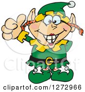Clipart Of A Happy Female Christmas Elf Giving A Thumb Up Royalty Free Vector Illustration