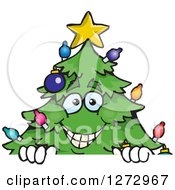 Clipart Of A Happy Christmas Tree Peeking Over A Sign Royalty Free Vector Illustration