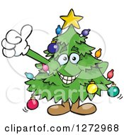 Clipart Of A Happy Christmas Tree Giving A Thumb Up Royalty Free Vector Illustration by Dennis Holmes Designs
