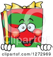 Clipart Of A Happy Christmas Gift Character Peeking Over A Sign Royalty Free Vector Illustration