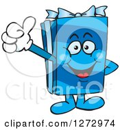 Clipart Of A Happy Blue Gift Character Giving A Thumb Up Royalty Free Vector Illustration by Dennis Holmes Designs