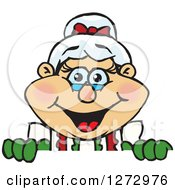 Clipart Of A Happy Mrs Claus Peeking Over A Sign Royalty Free Vector Illustration by Dennis Holmes Designs