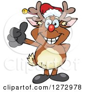 Clipart Of A Happy Rudolph Christmas Reindeer Giving A Thumb Up Royalty Free Vector Illustration by Dennis Holmes Designs