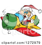 Clipart Of A Happy Santa Giving A Thumb Up And Flying A Christmas Plane Royalty Free Vector Illustration