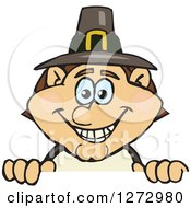 Clipart Of A Happy Male Thanksgiving Pilgrim Peeking Over A Sign Royalty Free Vector Illustration by Dennis Holmes Designs