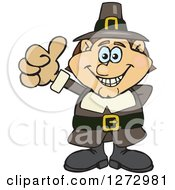 Clipart Of A Happy Male Thanksgiving Pilgrim Giving A Thumb Up Royalty Free Vector Illustration by Dennis Holmes Designs