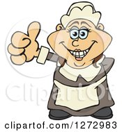 Clipart Of A Happy Female Thanksgiving Pilgrim Giving A Thumb Up Royalty Free Vector Illustration by Dennis Holmes Designs
