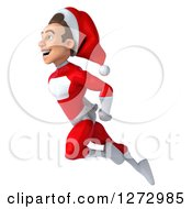 3d Young Super Hero Santa Flying To The Left