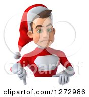 3d Unhappy Young Super Hero Santa Holding A Thumb Down Over A Sign