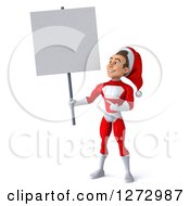 3d Young Super Hero Santa Pointing Holding And Looking Up At A Blank Sign