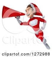 3d Young Super Hero Santa Flying With A Megaphone