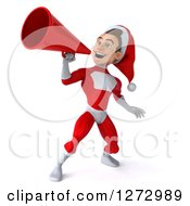 3d Young Super Hero Santa Announcing With A Megaphone