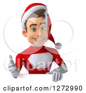 3d Young Super Hero Santa Giving A Thumb Up Over A Sign