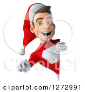 Clipart Of A 3d Young Super Hero Santa Pointing Outwards Around A Sign Royalty Free Illustration