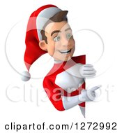 3d Young Super Hero Santa Pointing Around A Sign