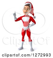 3d Young Super Hero Santa Holding Up A Finger