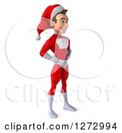 3d Young Super Hero Santa Facing Right