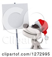 Clipart Of A 3d Christmas Jack Russell Terrier Dog Smiling Up At A Blank Sign Royalty Free Illustration