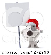 Clipart Of A 3d Christmas Jack Russell Terrier Dog Smiling Under A Blank Sign Royalty Free Illustration