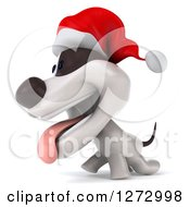 Clipart Of A 3d Christmas Jack Russell Terrier Dog Panting And Walking To The Left Royalty Free Illustration