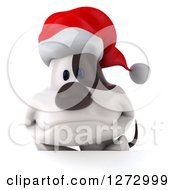 Clipart Of A 3d Christmas Jack Russell Terrier Dog Over A Sign Royalty Free Illustration