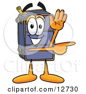 Clipart Picture Of A Suitcase Cartoon Character Waving And Pointing by Toons4Biz