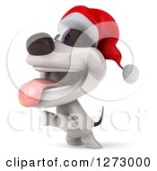 Clipart Of A 3d Christmas Jack Russell Terrier Dog Panting And Jumping To The Left Royalty Free Illustration