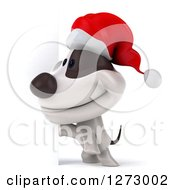 Clipart Of A 3d Christmas Jack Russell Terrier Dog Smiling By A Sign Royalty Free Illustration