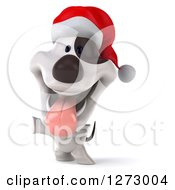 Clipart Of A 3d Christmas Jack Russell Terrier Dog Panting Jumping And Presenting To The Left Royalty Free Illustration