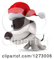 Clipart Of A 3d Christmas Jack Russell Terrier Dog Walking To The Left Royalty Free Illustration