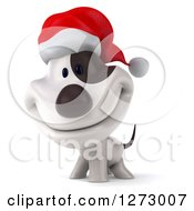 Clipart Of A 3d Christmas Jack Russell Terrier Dog Smiling Royalty Free Illustration