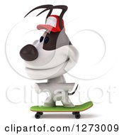 Clipart Of A 3d Jack Russell Terrier Dog Wearing A Baseball Cap And And Skateboarding To The Left Royalty Free Illustration