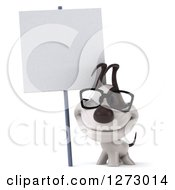 Clipart Of A 3d Bespectacled Jack Russell Terrier Dog Smiling Under A Blank Sign Royalty Free Illustration