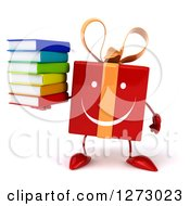Clipart Of A 3d Happy Red Gift Character Holding A Stack Of Books Royalty Free Illustration by Julos