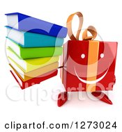 Clipart Of A 3d Happy Red Gift Character Holding Up A Stack Of Books Royalty Free Illustration by Julos