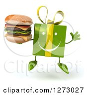 Clipart Of A 3d Happy Green Gift Character Jumping And Holding A Double Cheeseburger Royalty Free Illustration by Julos