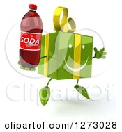 Clipart Of A 3d Happy Green Gift Character Facing Right Jumping And Holding A Soda Bottle Royalty Free Illustration